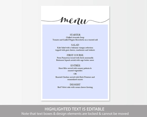 Printable Black Menu template Calligraphy Style Script - dinner party menu template
