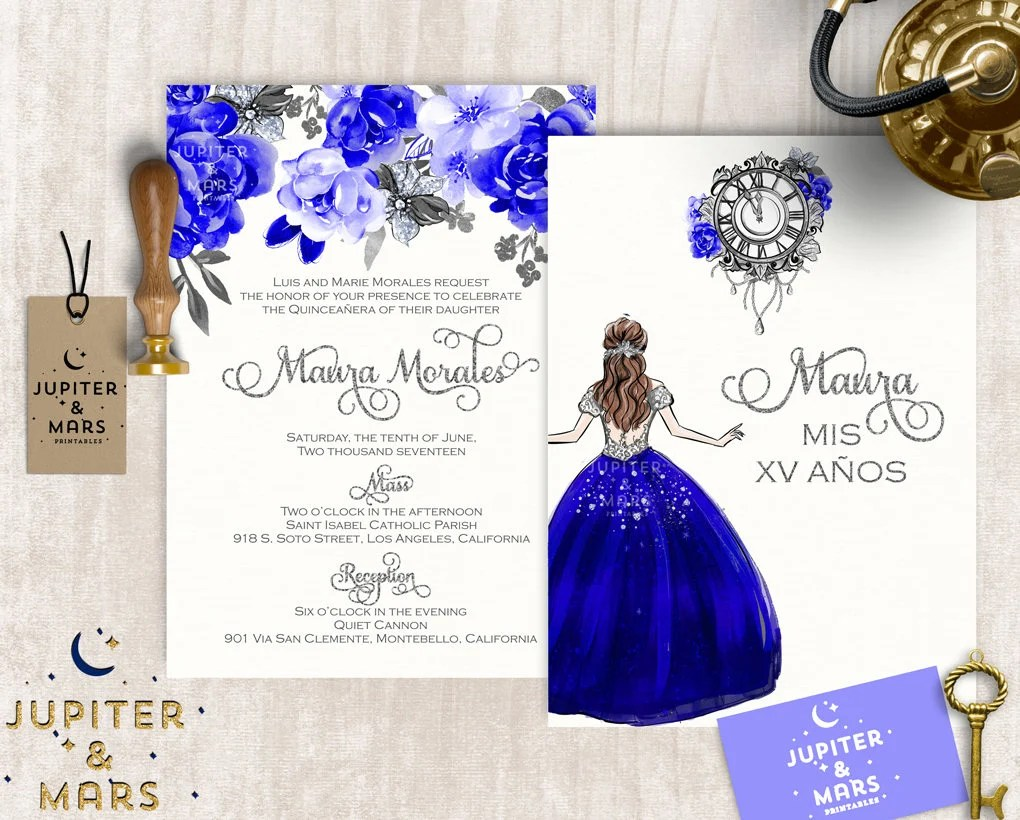 picture about Printable Quinceanera Invitations identified as Royal Blue Quinceanera Invites - Anarchistshemale