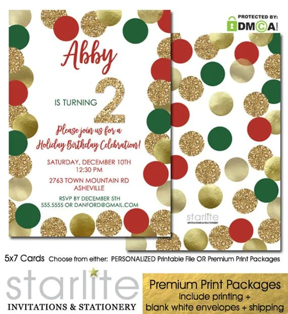 2nd Birthday Invitation Girl Christmas Holiday Red Green Gold