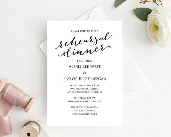 Rehearsal Dinner Invitation Template DIY Printing Custom - dinner invitation template