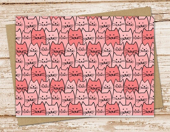 cats note card set  pink cats notecards  cat, feline, pet, girl