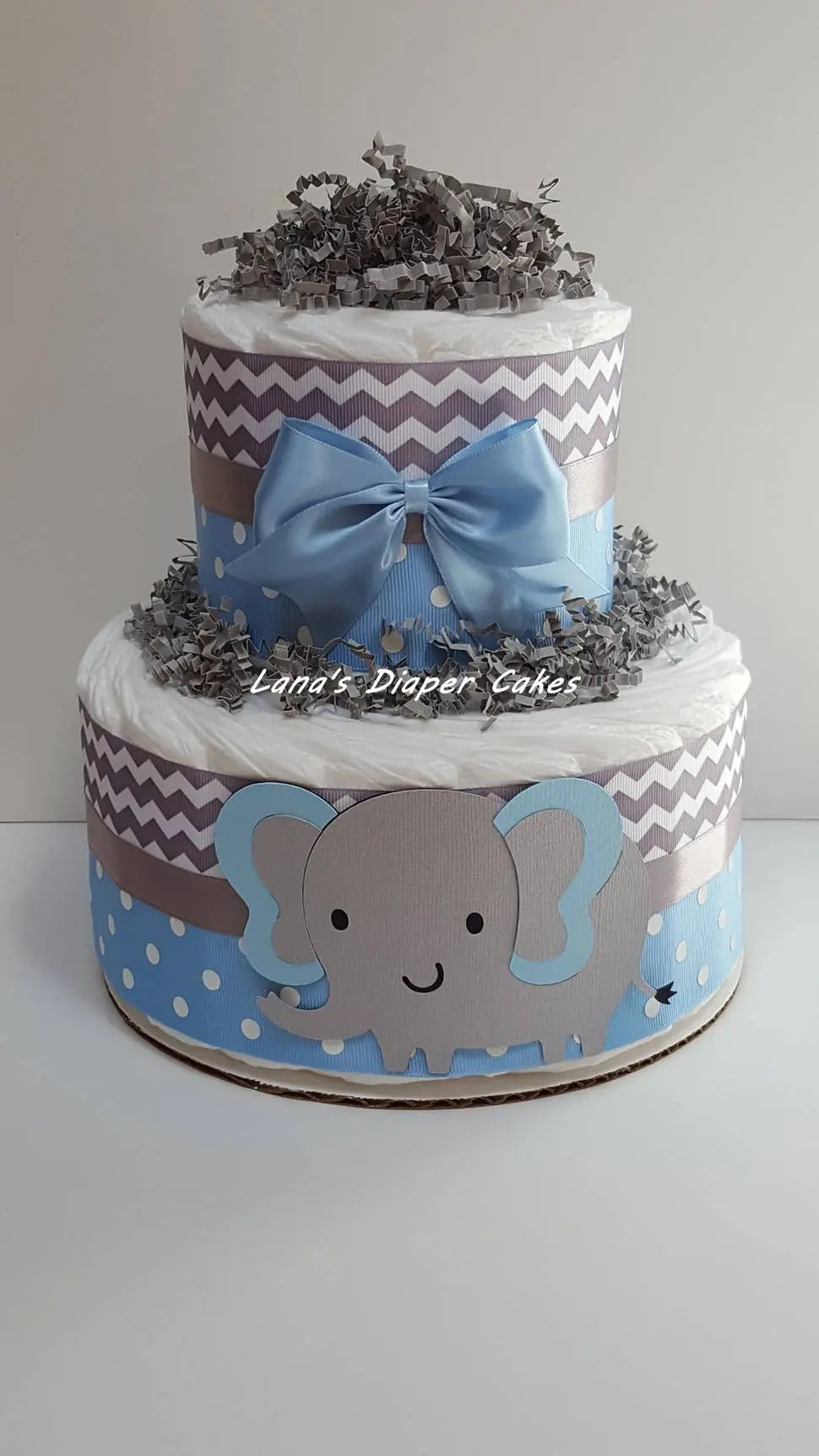 Baby Select Diapers 2 Tier Blue Gray Elephant Diaper Cake Baby Shower