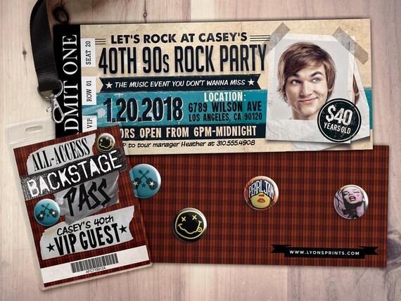 90s, Rockstar party, concert ticket, birthday party invitation - concert ticket birthday invitations