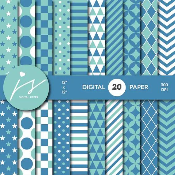 Blue digital scrapbook paper pack, Birthday digital paper pack