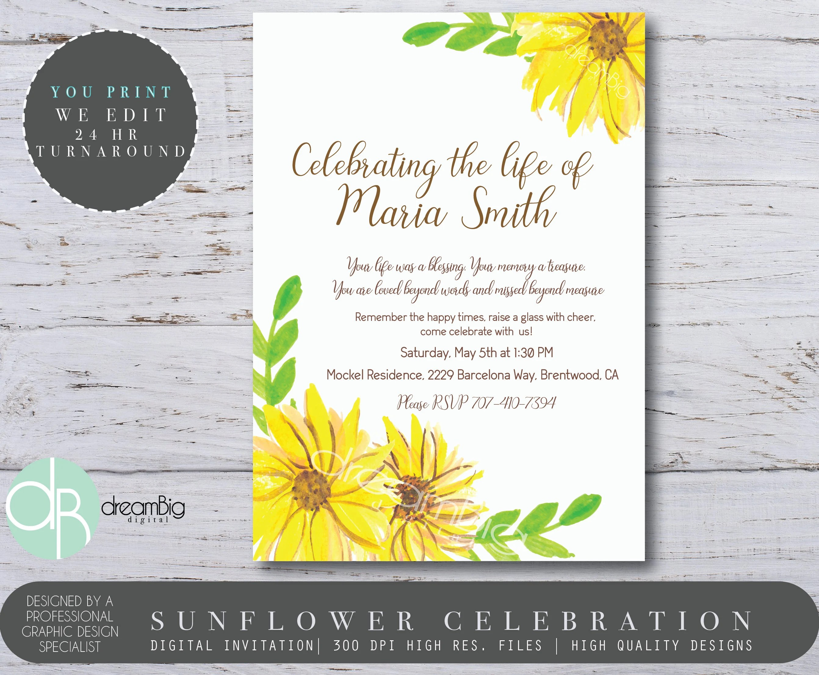 A Celebration of Life Invitation, Sunflower Invites, Floral