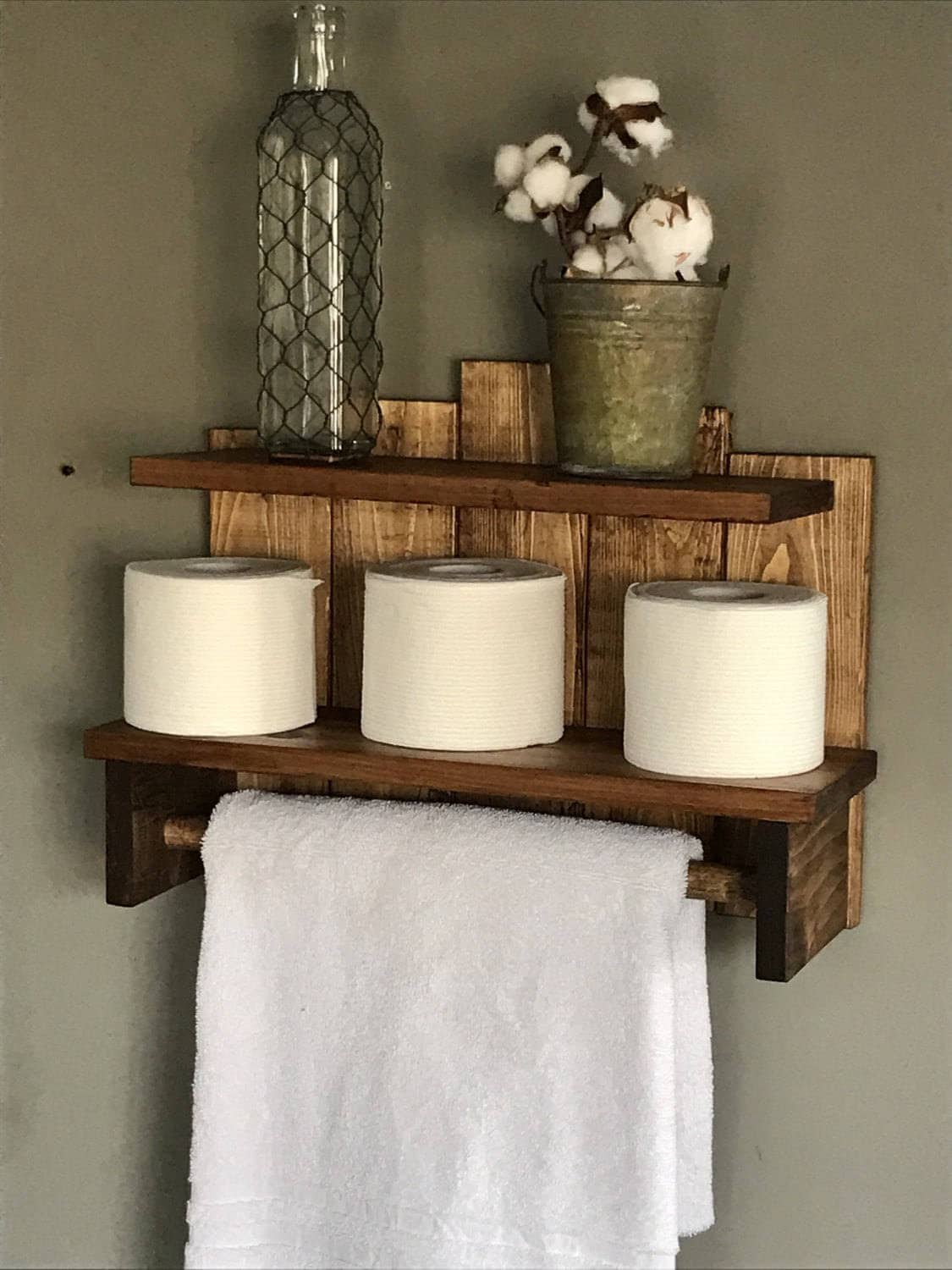 Farmhouse Hand Towel Holder Bathroom Storage Rustic Towel Holder Storage For
