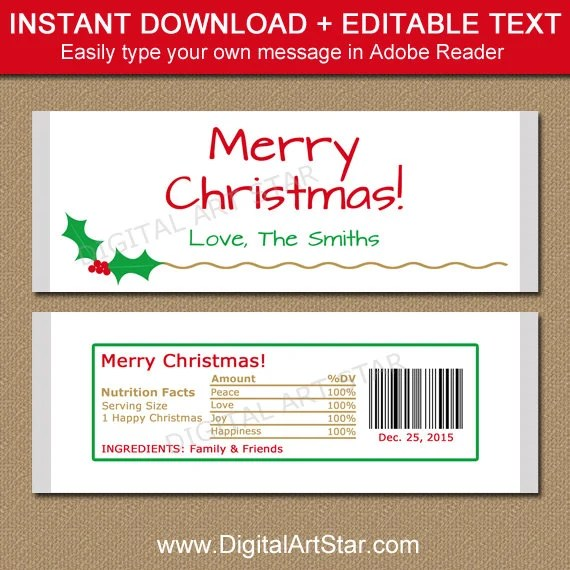 Christmas Candy Bar Wrapper Template - Printable Holiday Chocolate