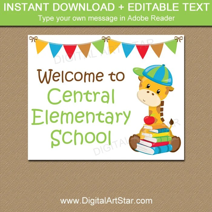 Welcome to School Sign, Printable Welcome Sign, EDITABLE Back to