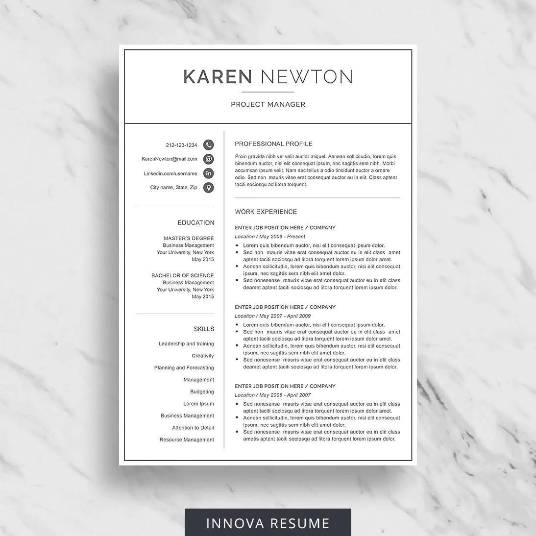 reference page for a resume template