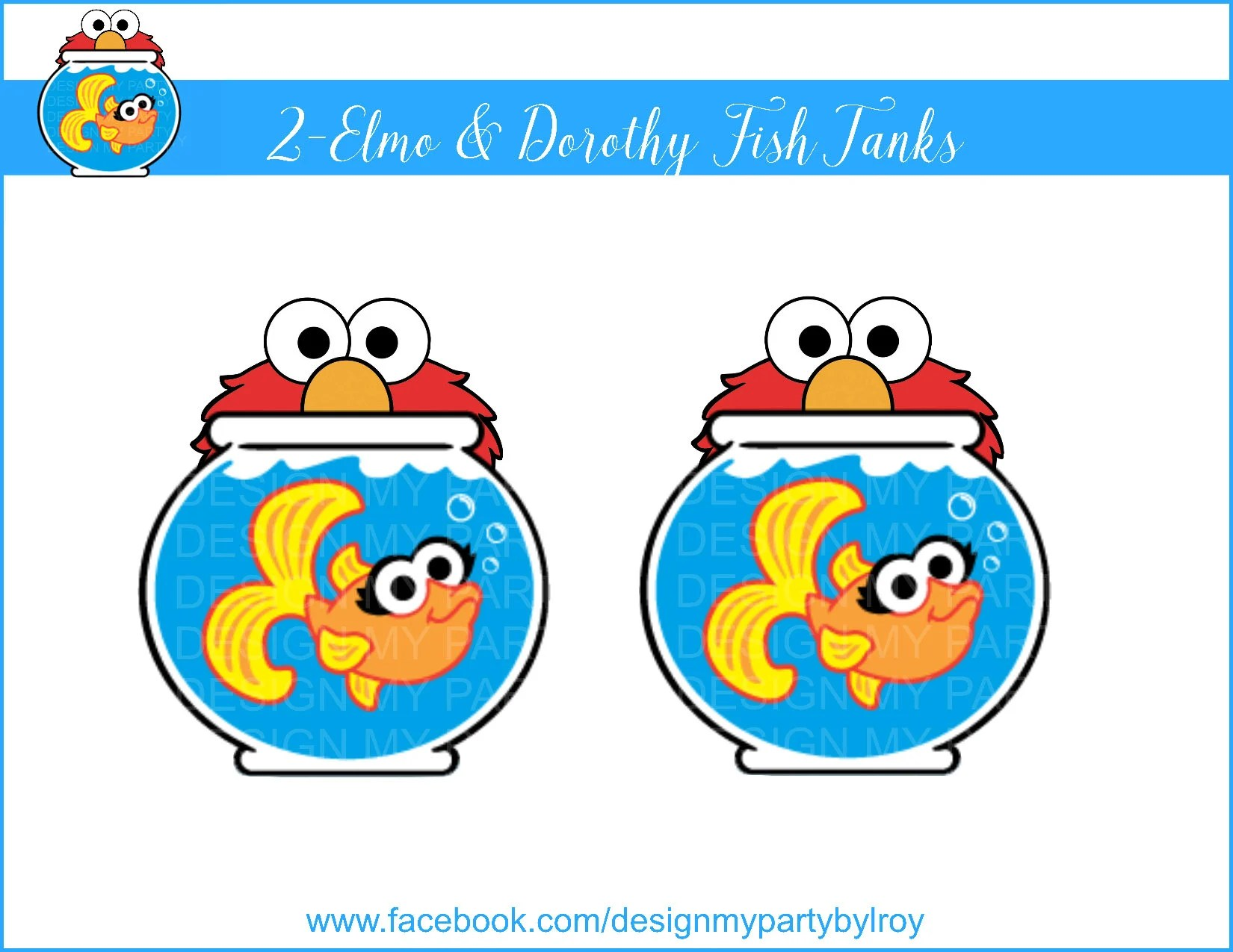 2 -ELMO  DOROTHY Fish Tanks Digital file,Dorothy Fish Tank Instant