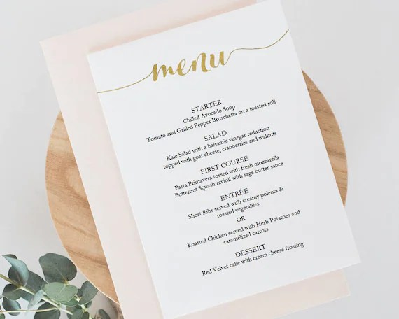 Printable Gold Menu Template Instant Download Menu 5x7 - dinner party menu template
