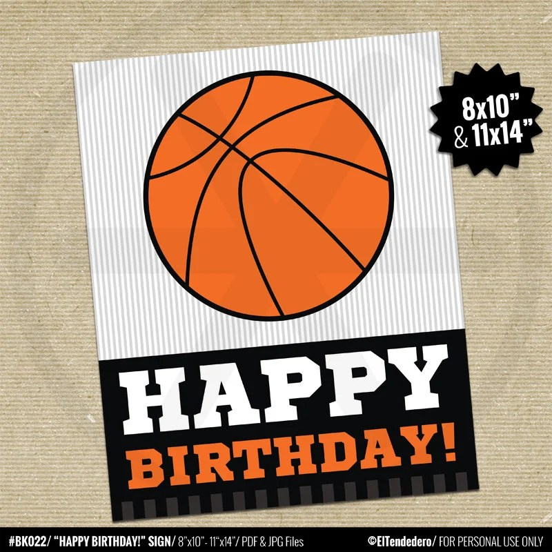 Basketball Happy Birthday Sign Printable Kids Birthday Party Sign