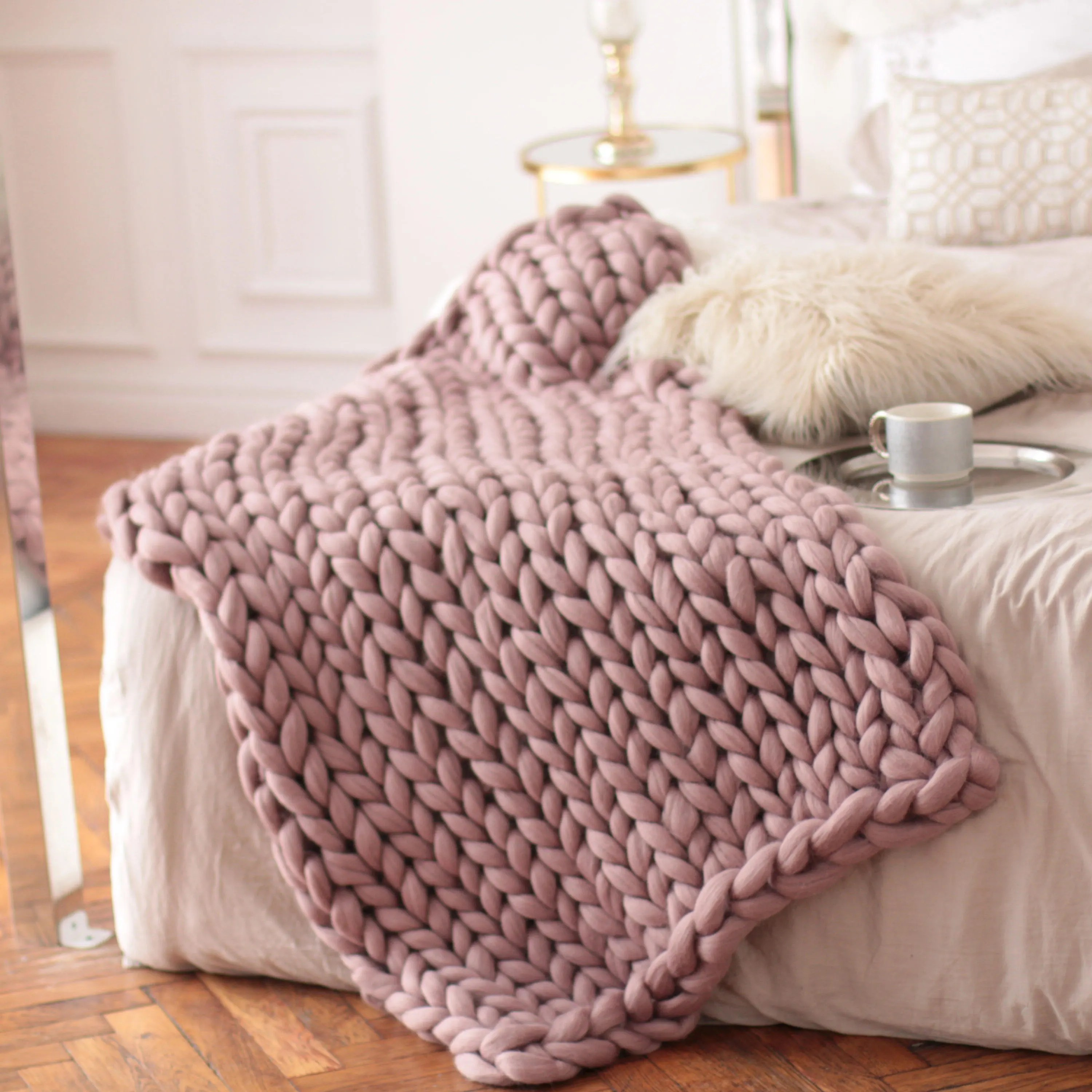 Pink Throw Wool Hugs Dusty Pink Chunky Knit Blanket Pink Throw Blanket