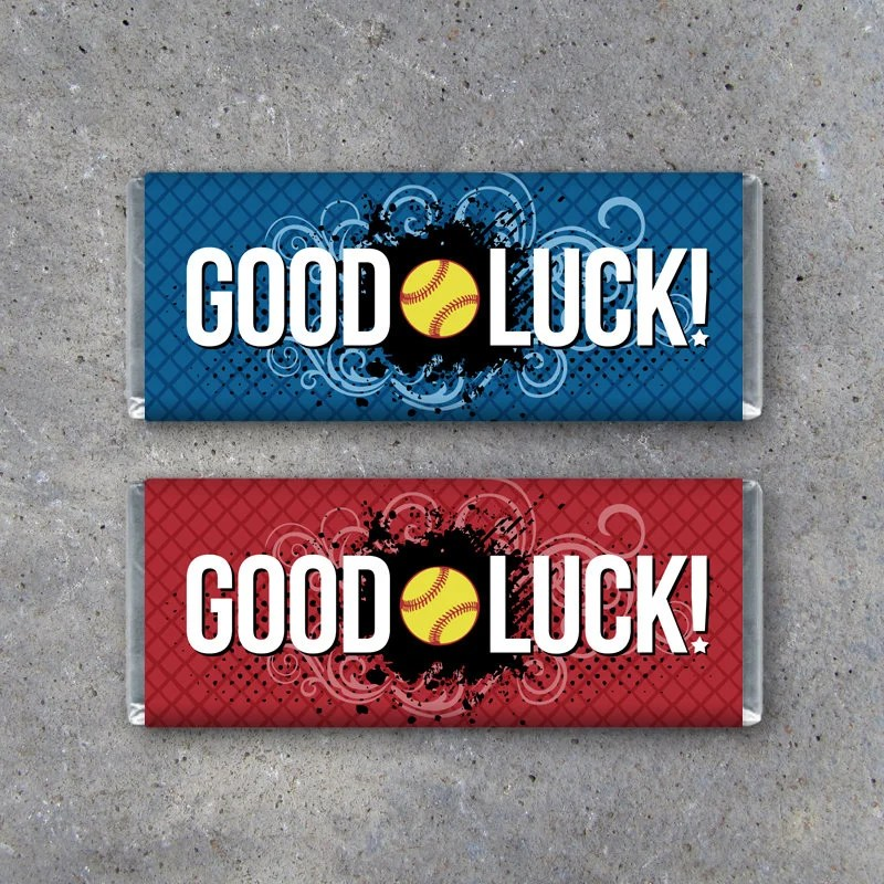 Softball GOOD LUCK Candy Bar Wrapper in Red or Blue \u2013 Printable - hershey wrappers