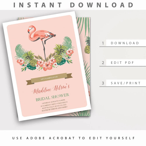 Flamingo Bridal Shower Invitation / Instant Download Editable - bridal shower invitation templates download