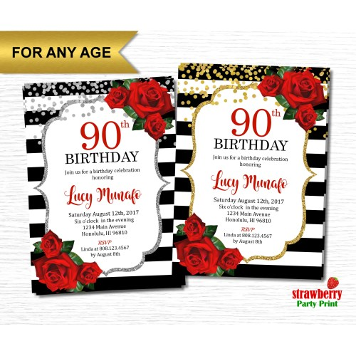 Medium Crop Of 90th Birthday Invitations