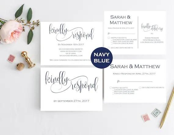 Navy Wedding RSVP Template -RSVP Postcard Template - Printable