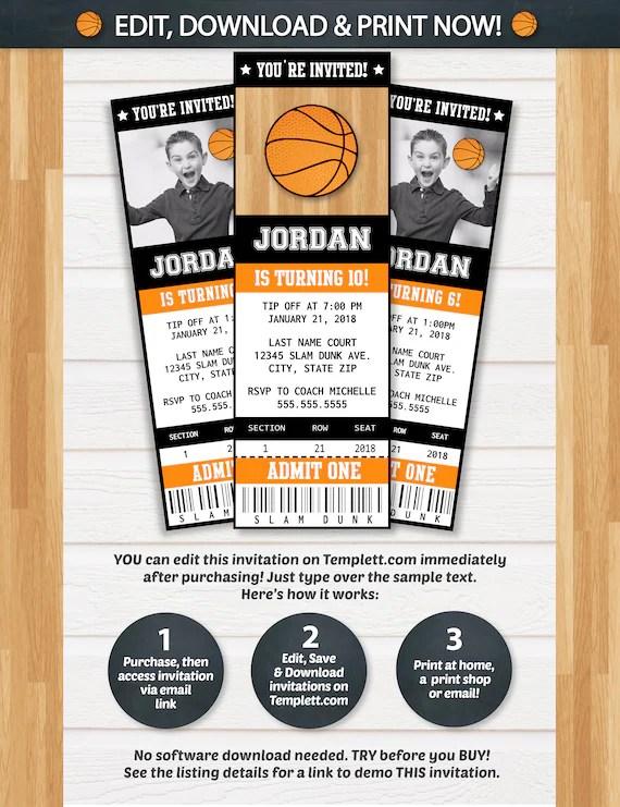 Basketball Invitations Basketball Ticket Invitation - ticket invitation