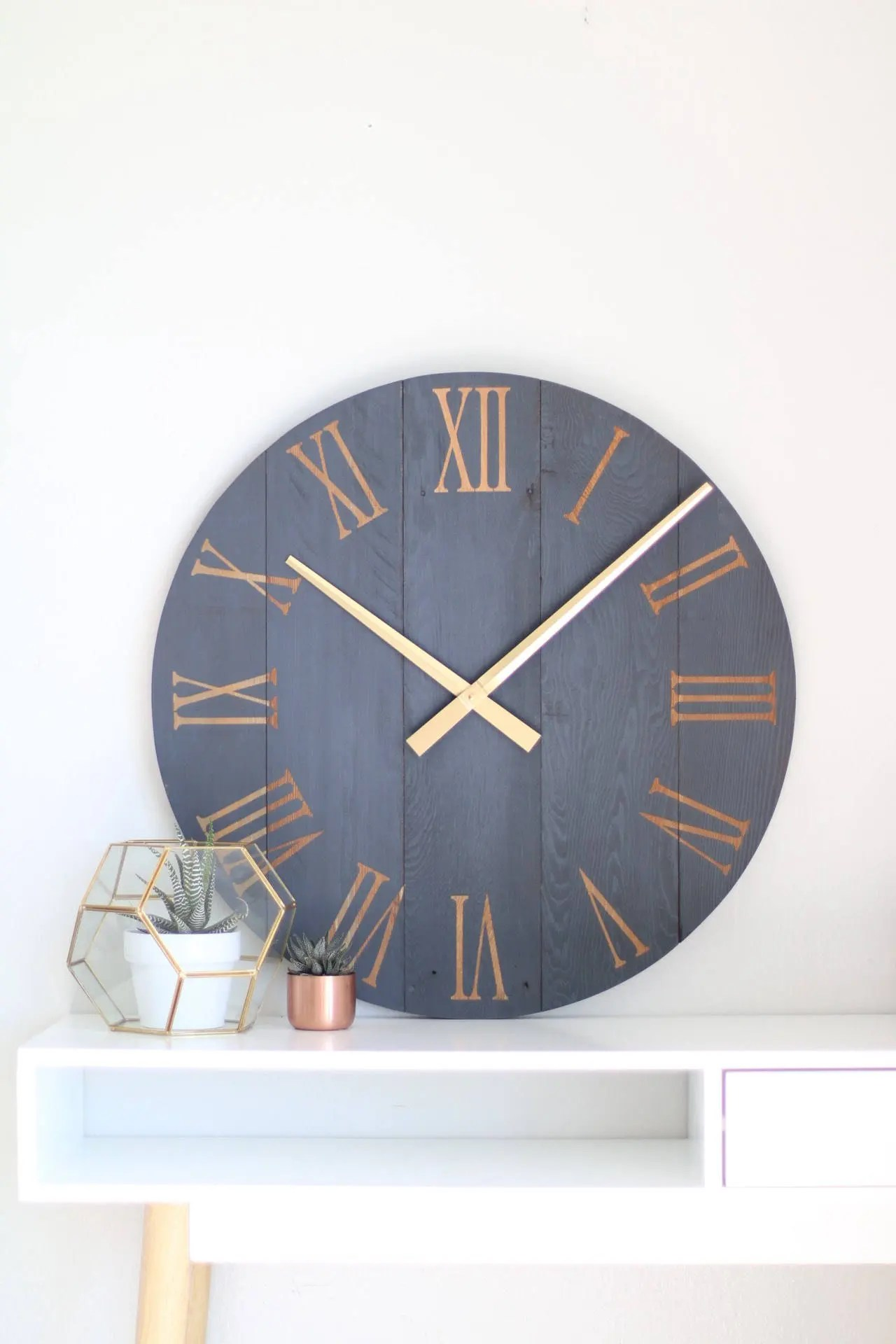 Blue Kitchen Clock Large Wall Clock Navy Blue Wall Clock Modern Wall Clock
