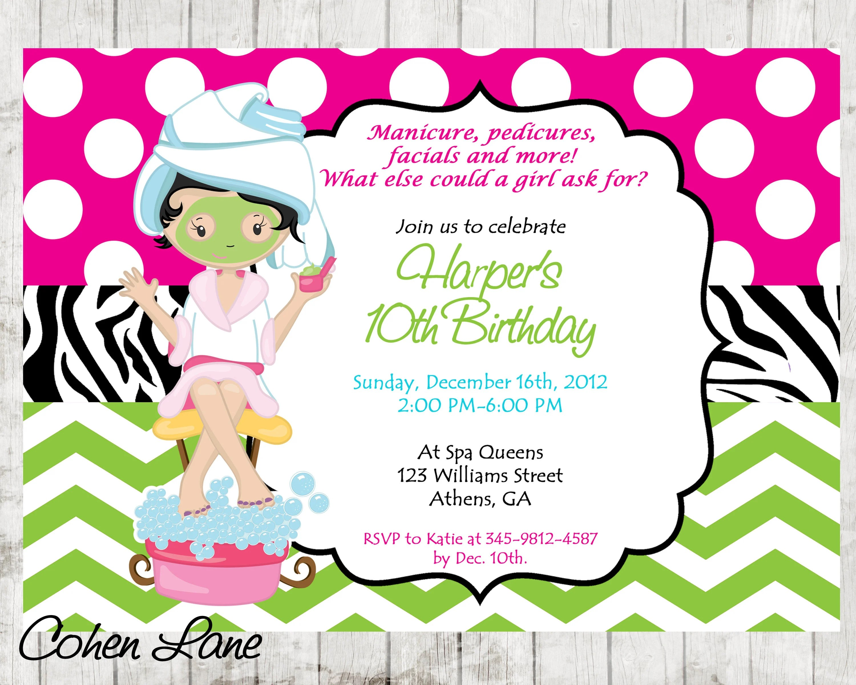 Spa Party invitation Spa Invitation Spa Party Invite Spa Birthday - spa invitation