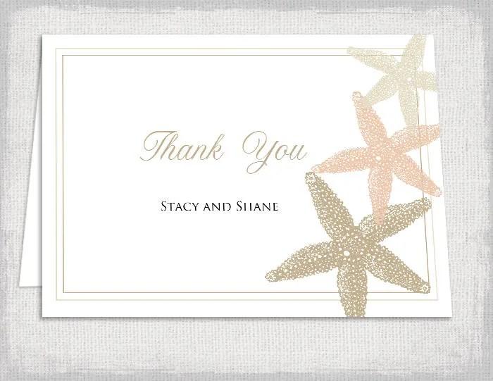 Wedding thank you cards template Beach Starfish wedding printable - printable thank you note