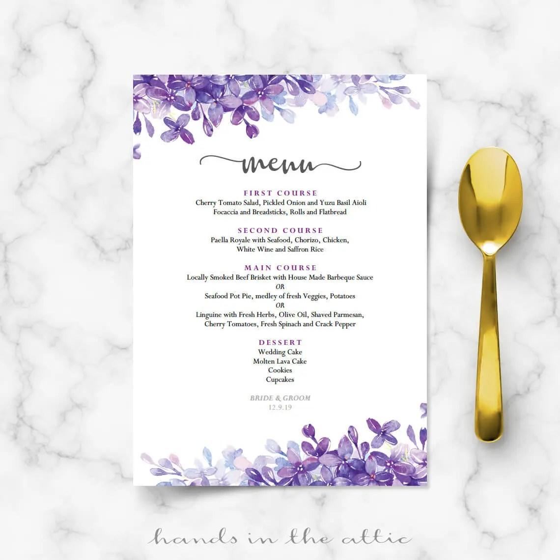 Printable menu cards for weddings, lilac lavender periwinkle wedding