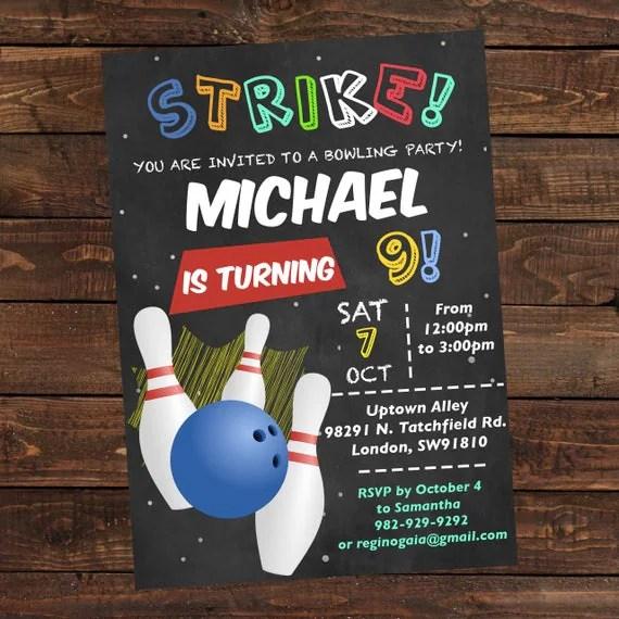 bowling birthday invitation boy printable bowling invitation - bowling invitation