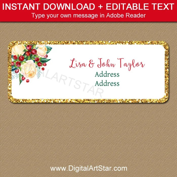 Christmas Address Label Template, Editable Christmas Return Address - Return Address Label Template