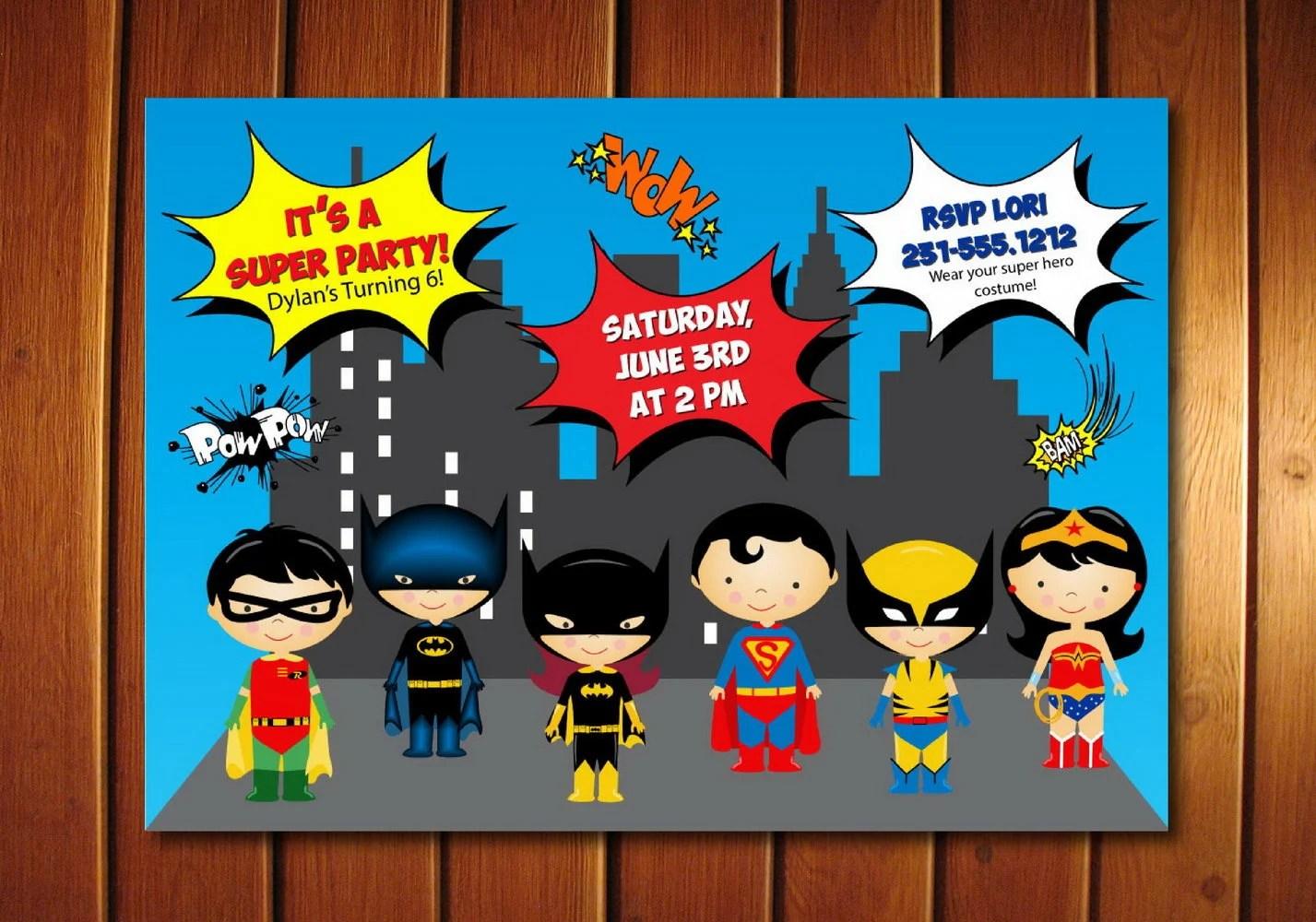 Super Hero Invitation, Kids Super Hero Birthday Invitation