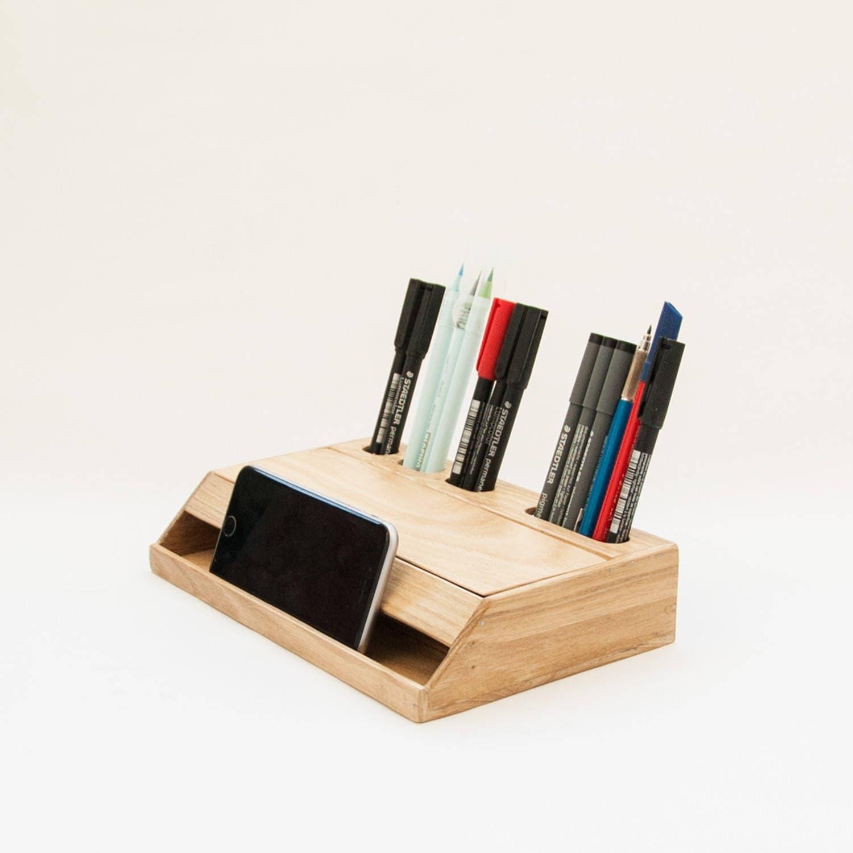 Wood handmade desk organizer / Office modern desk organizer