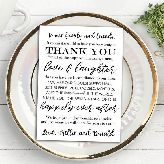 Printable Wedding Thank You Note Place Card, Placemat, Wedding Favor