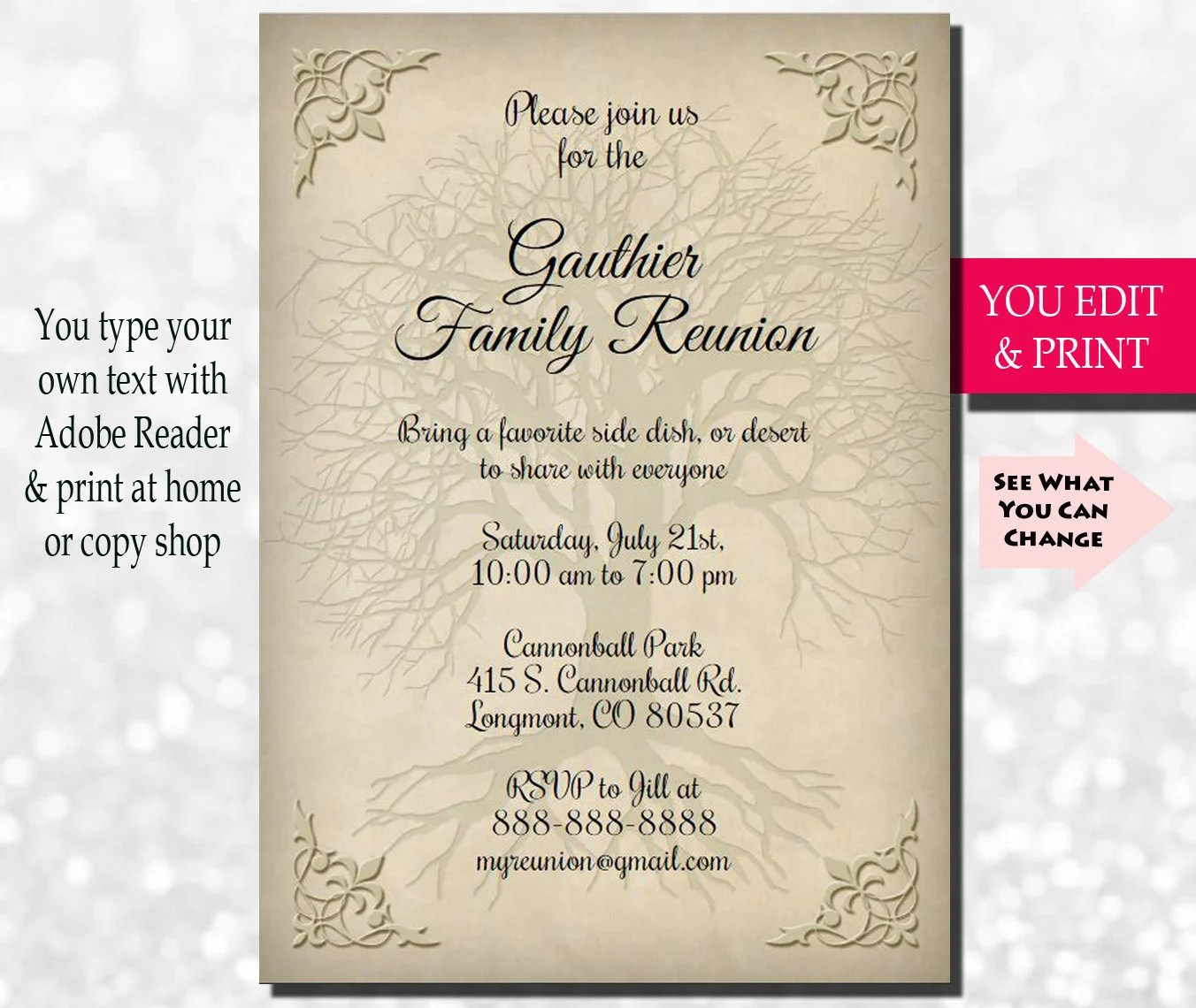 Family Reunion Invitation, Family Party Invitation, Family Get - invitation for a get together