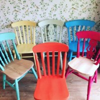 Bright Painted Colourful Patchwork Chairs Multicoloured