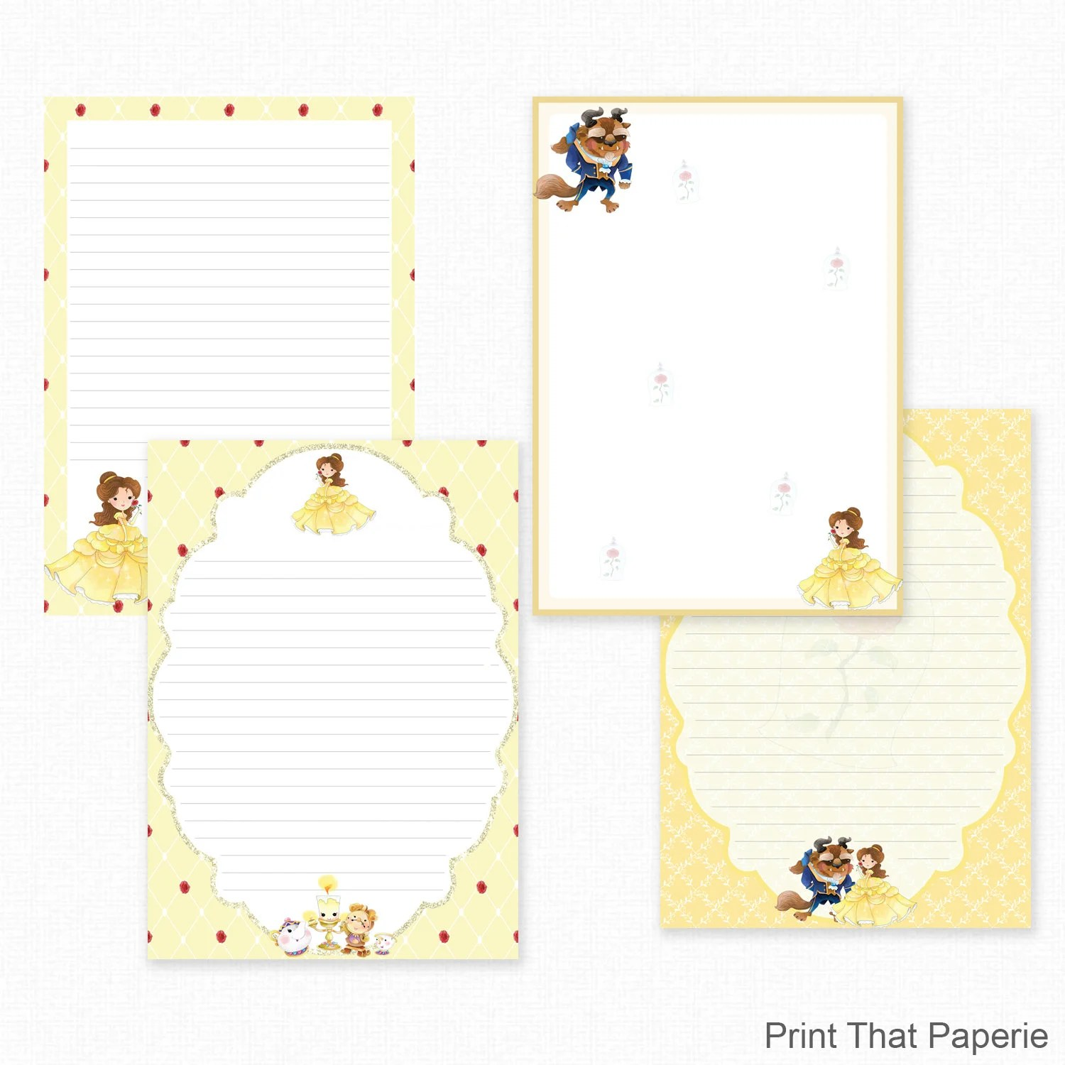 Beauty and the Beast Printable Writing Paper - Stationary Paper - print writing paper