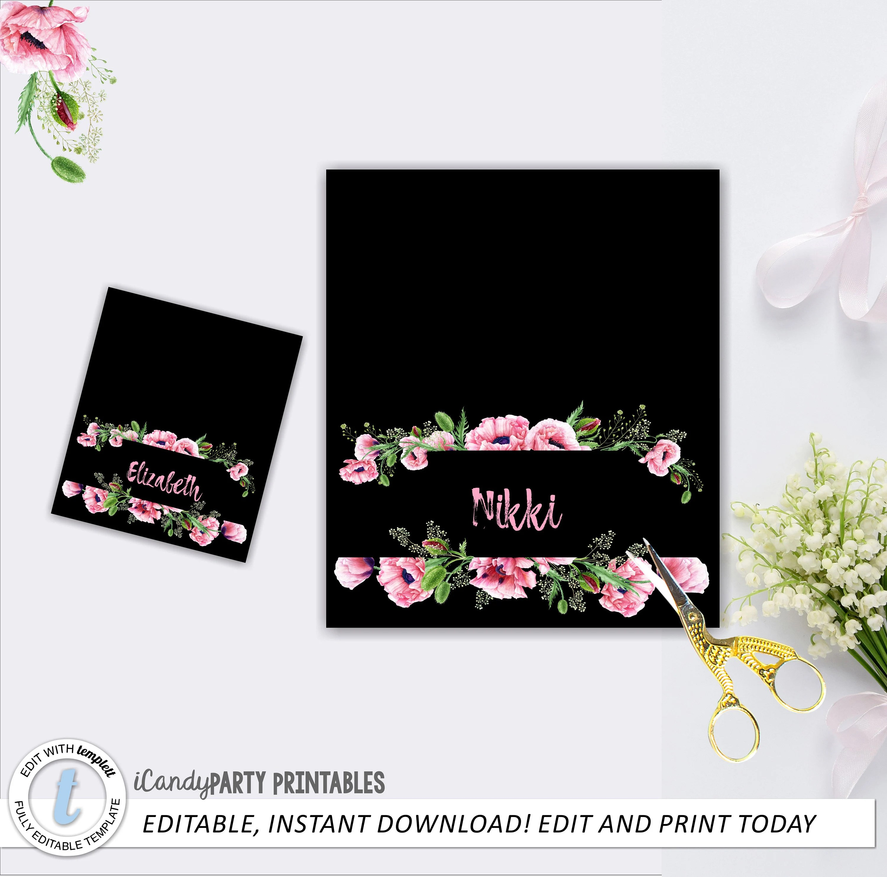 Bridal shower, Place Cards, Place Card Template, Seating Cards