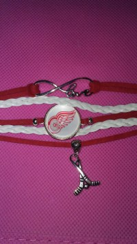 Detroit redwings hockey Lamp with red lights inside block and