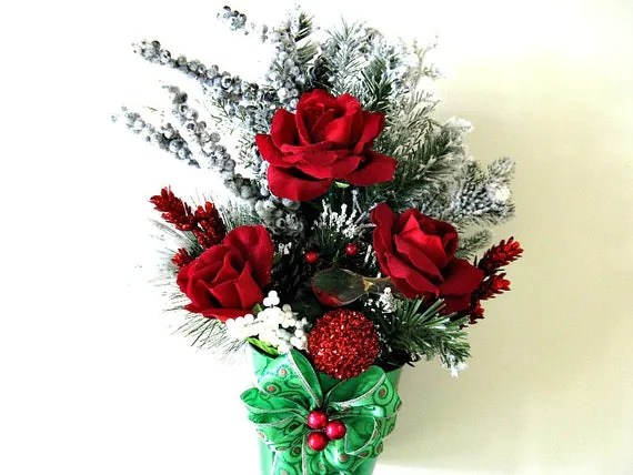 Christmas floral centerpiece Holiday table decoration - christmas floral decorations