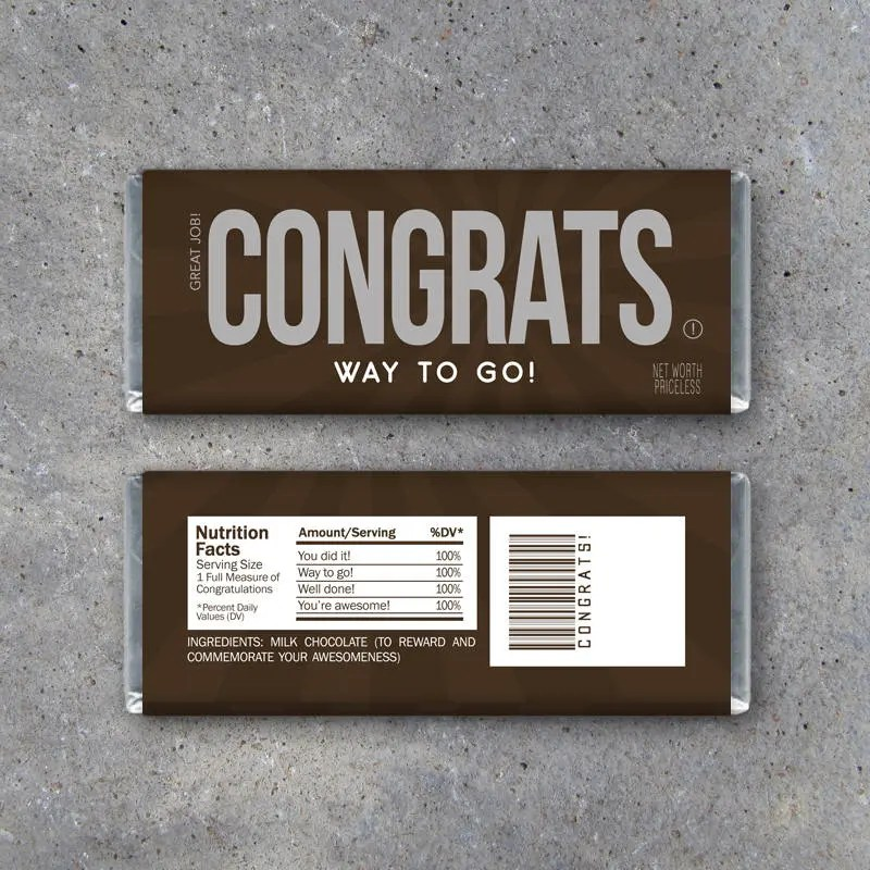 CONGRATS Candy Bar Wrappers \u2013 Printable Instant Download - DIY