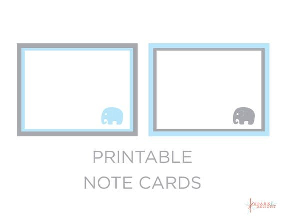 Printable Note Cards - Elephant Baby Shower - Elephant Note Cards