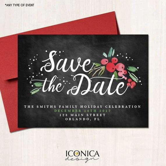 Save the Date Christmas Cards, Holiday Save the date cards
