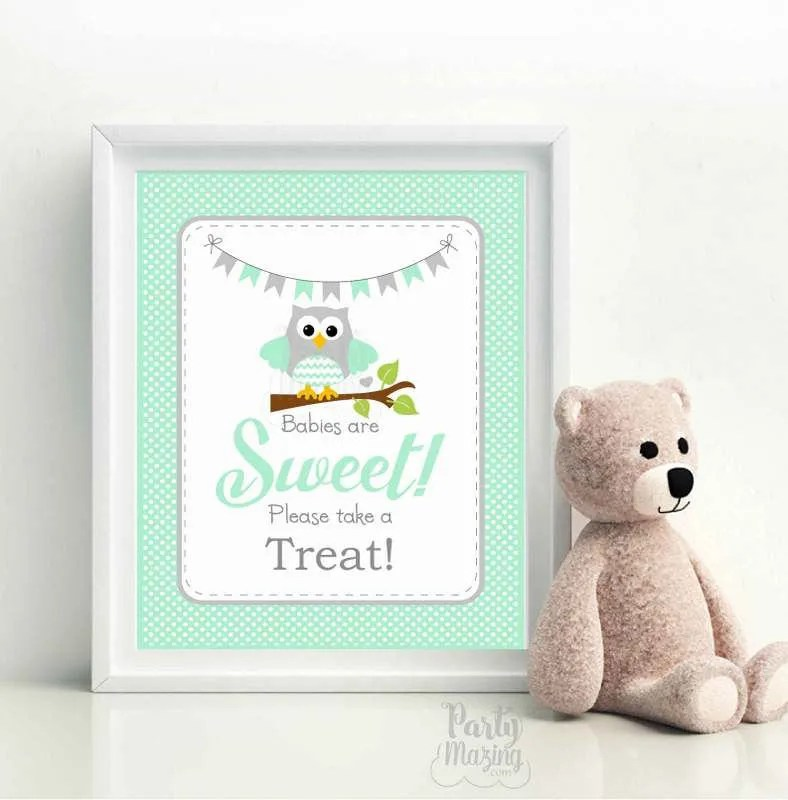 Printable Mint Owl Babies Are Sweet Please Take A Treat Party Sign