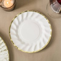 White Party Plates White and Gold Paper Plates Disposable ...