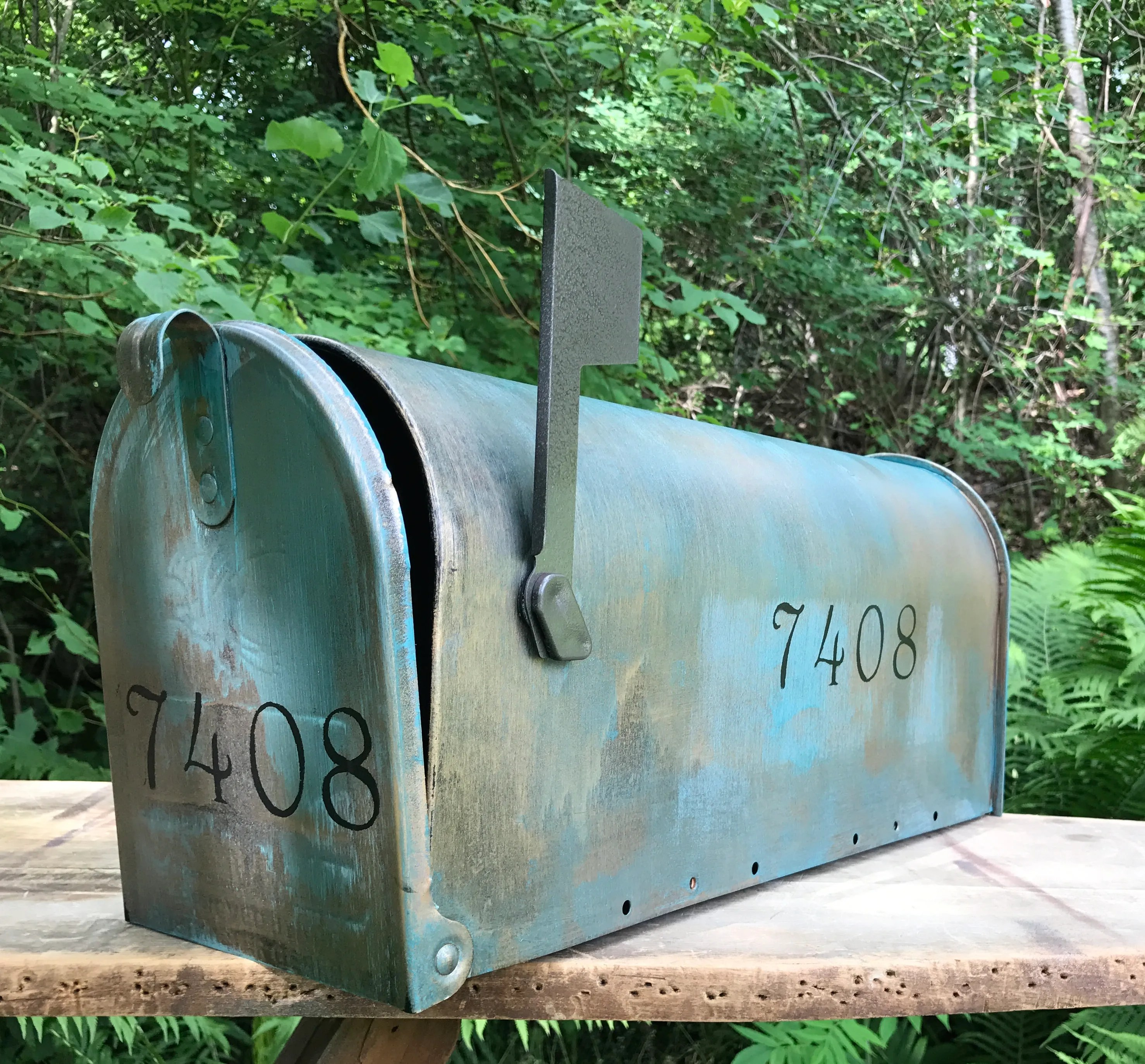 Copper Mailbox Patina Standard Size Custom Aged Copper Verde Patina Mailbox With