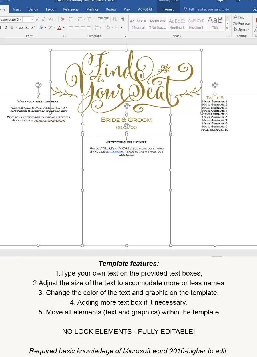 Wedding seating chart template seating chart template - color chart template