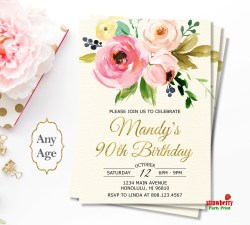 Enamour Floral Birthday Surprise G Foil Birthday Invitations Floral Birthday Invitation 90th Birthday Invitations Templates 90th Birthday Invitations Free Download Birthday Invitations