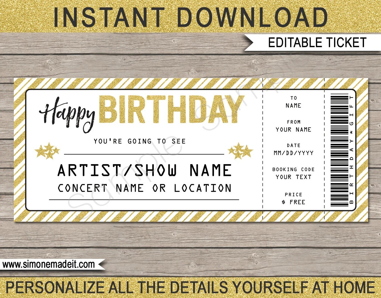 Concert Ticket Birthday Gift - Printable template - Surprise Concert