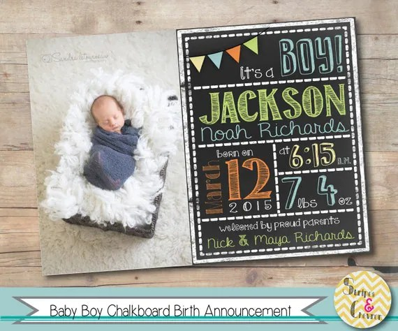 Birth Announcement Photo Card, Printable Boy Birth Announcement
