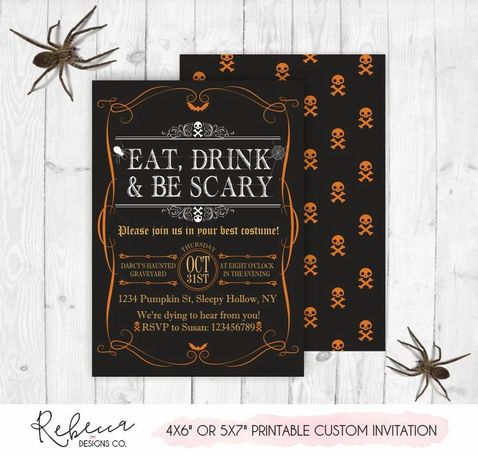 Halloween invitation printable halloween invite eat drink and be - halloween invitation
