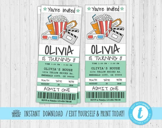 Movie Ticket Invitation, Movie Party Invitation Ticket Printable