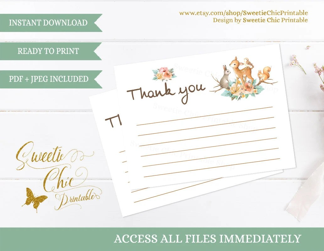 Woodland Thank You Cards, Woodland Animal Printable Thank You Card